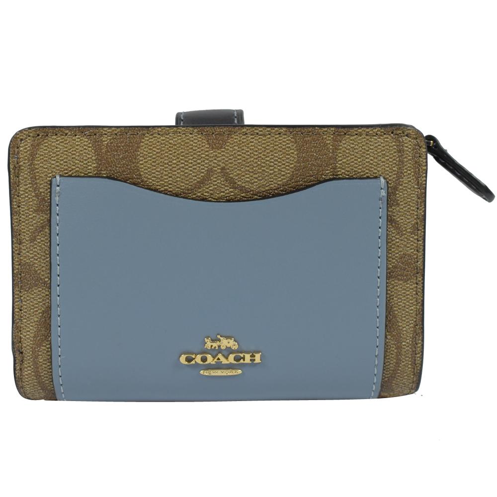 COACH 金屬LOGO牛皮拼接PVC扣式中夾(粉藍)COACH
