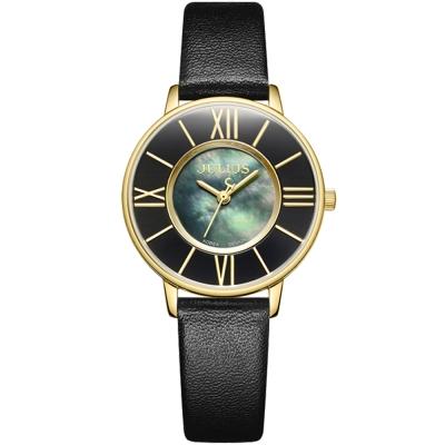 JULIUS聚利時 月光圓舞曲貝殼面皮錶帶腕錶-黑色/32mm