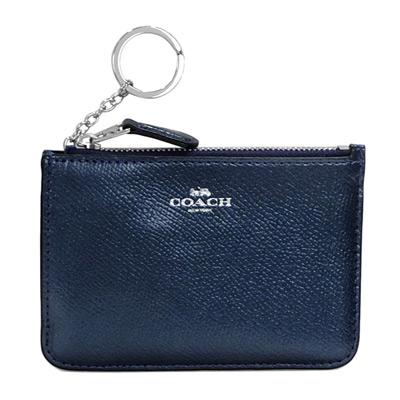 COACH星空藍防刮全皮銀字方型鑰匙零錢包-大