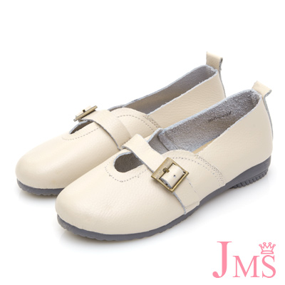 JMS-鄰家女孩俏皮款柔軟牛皮娃娃鞋-米色