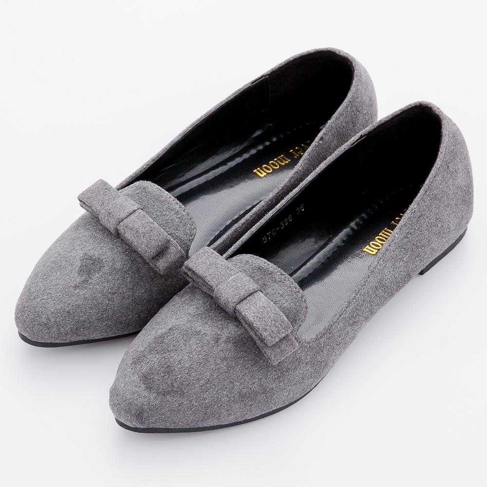 River&Moon尖頭鞋-加大尺碼俏麗細絨朵結尖頭樂福鞋-灰