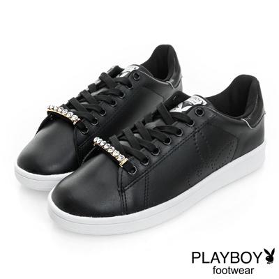 PLAYBOY 純色天空 可拆鞋帶釦仿皮休閒鞋-黑(女)