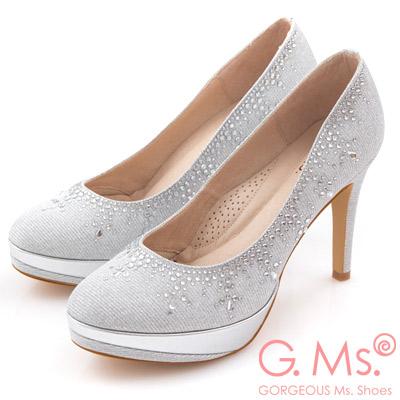 G.Ms. MIT花嫁系列-閃亮銀絲網布水鑽高跟鞋-夢幻銀