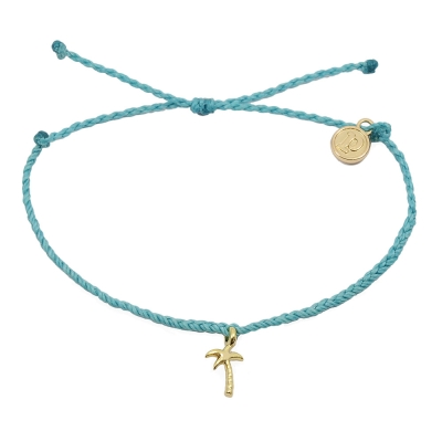 Pura Vida 美國手工 金色椰子樹 藍綠色臘線可調式手鍊防水衝浪手繩手鍊