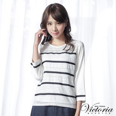 Victoria 蕾絲緞帶異材質拼接七分袖T-女-白底藍條