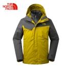 The North Face北面男款黃色防水透氣保暖三合一夾克