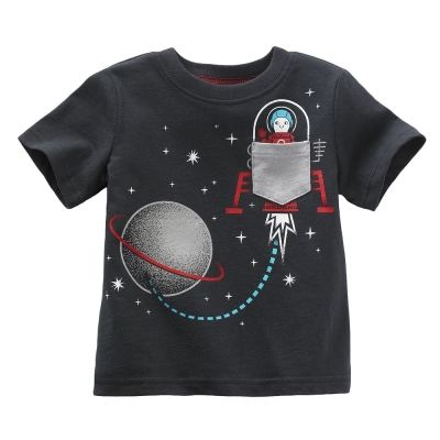 歐美風格設計 小童男童短棉T居家外出 浩瀚星空 鐵灰