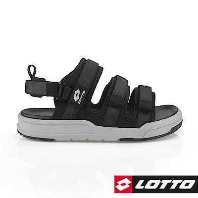 LOTTO 義大利 男 ROMA潮流繫帶涼鞋(黑)
