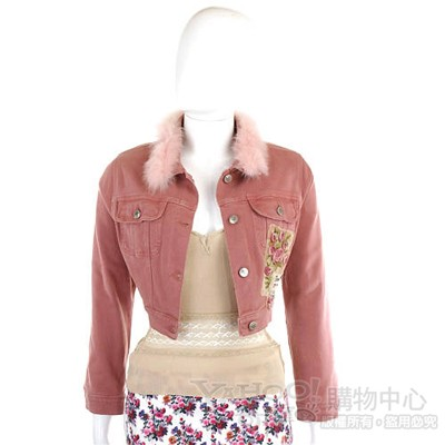 BLUGIRL 粉紅色毛領單寧外套