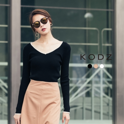 東京著衣-KODZ V領顯瘦滾邊多色針織上衣-S.M.L(共三色)