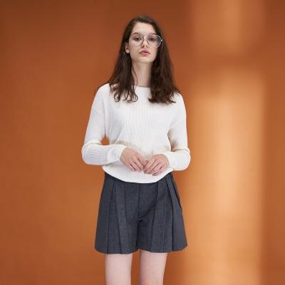 Hana+花木馬 簡約必備素面百搭造型打摺褲裙(兩色)-灰
