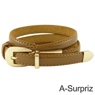 A-Surpriz 甜美氣質牛皮底細版腰帶(品味駝)