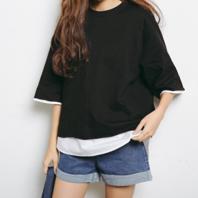 La Belleza假兩件下擺拼接白襯衫前短後長寬袖棉T