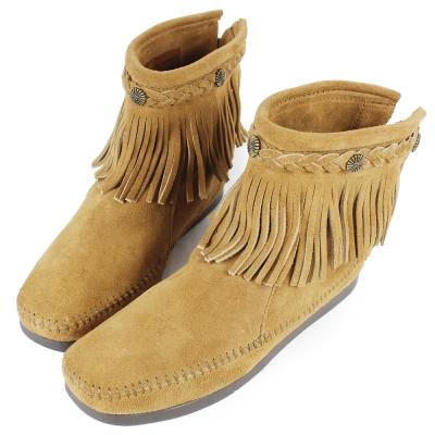 MINNETONKA 沙棕色麂皮後拉鍊流蘇莫卡辛短靴 女鞋