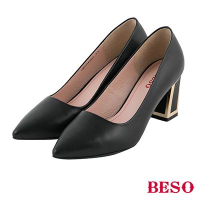 BESO  都會知性 簡約高質感全真皮金屬粗跟鞋~黑