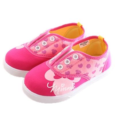 迪士尼 米妮 鬆緊帶帆布鞋 桃 sk0207 魔法Baby