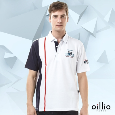 歐洲貴族oillio-短袖POLO-品牌文字-OILLIL-PARIS刺繡-白色