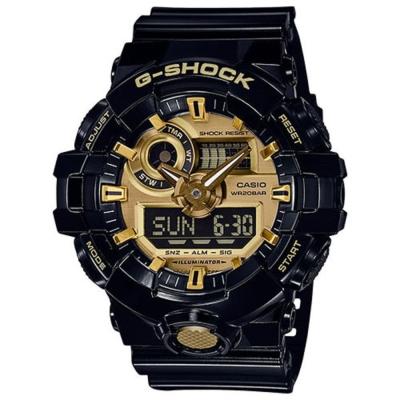 G-SHOCK創新突破金屬感強悍視覺休閒錶(GA-710GB)/金屬金面53.4mm