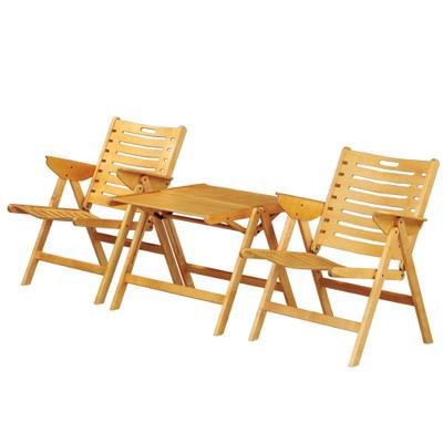 樂舒Lax 實木休閒1桌2椅/折合桌椅組/(二色可選)