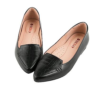 BESO 都會知性 全真皮石頭紋拼接尖頭平底鞋~黑