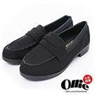 Ollie韓國空運-正韓製絨質素面低跟紳士樂福鞋-黑