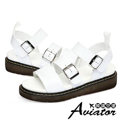 Aviator*韓國空運-PAPERPLANES質感金屬皮革釦帶厚底涼鞋-白