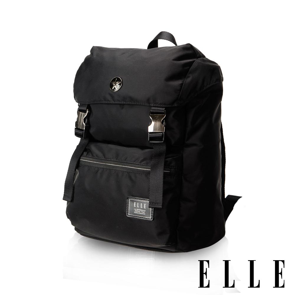 ELLE HOMME獨特巴黎鐵塔設計休閒風格可置物12吋扣層機能後背包