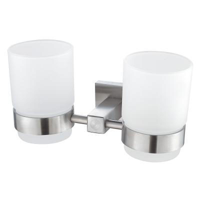 Homeicon 衛浴配件-霧面不鏽鋼雙杯架