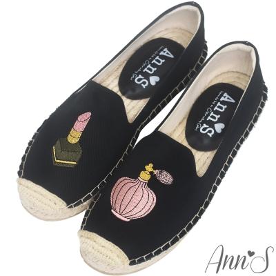 Ann'S口紅香水手繪刺繡草編鞋-黑