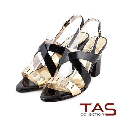 TAS-鏡面交叉金屬色拼接高跟涼鞋-質感黑