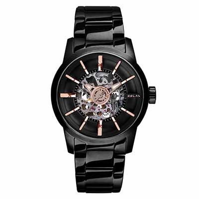 RELAX TIME鏤空機械腕錶(RT-38J-3)-黑X玫瑰金/45mm