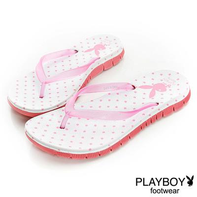 PLAYBOY 清新線條 水玉點點可愛夾腳拖鞋-白(女)