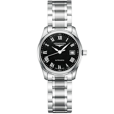 LONGINES 浪琴 Master 巨擘系列羅馬機械女錶-黑/25.5mm L21284516