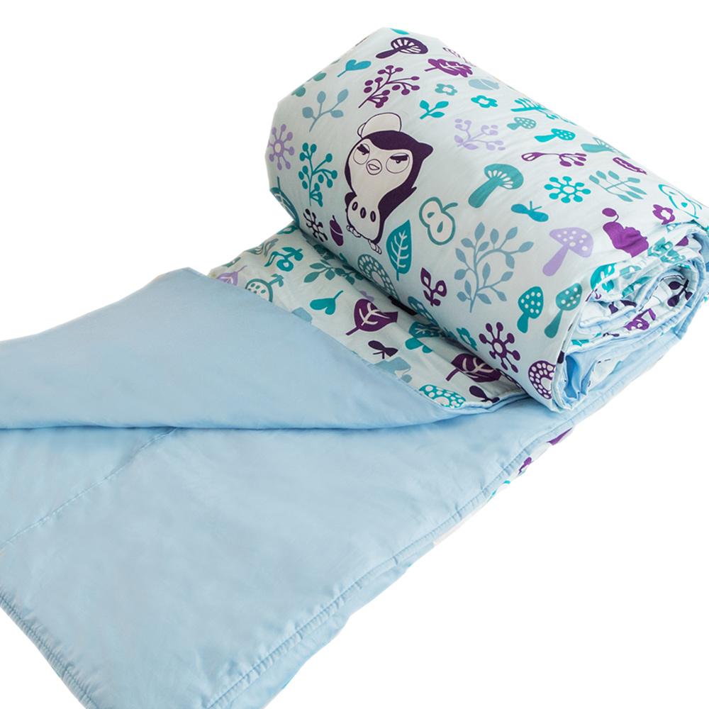 奶油獅-好朋友系列-台灣製造-100%精梳純棉兩用被套(水漾藍)-雙人