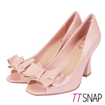 TTSNAP-全真皮魚口高跟鞋-蝴蝶結宴會派對款-粉膚色