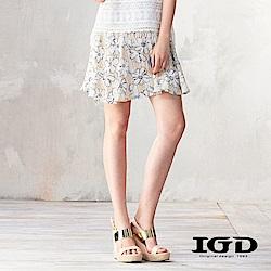 IGD英格麗 夏意花卉印花傘狀褲裙-卡其