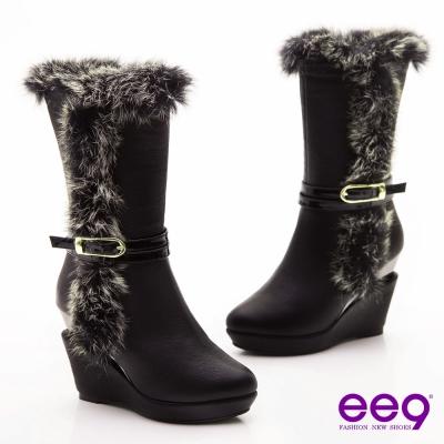 ee9 心滿益足~奢華兔毛滾邊獨家造型跟中筒靴~奢華黑