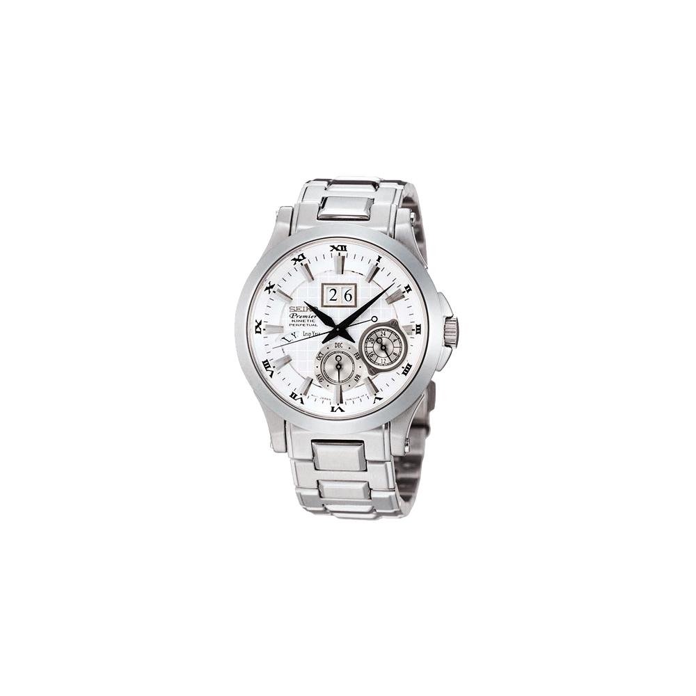 SEIKO Premier 萬年曆人動電能腕錶(SNP001J1)-銀白/42mm