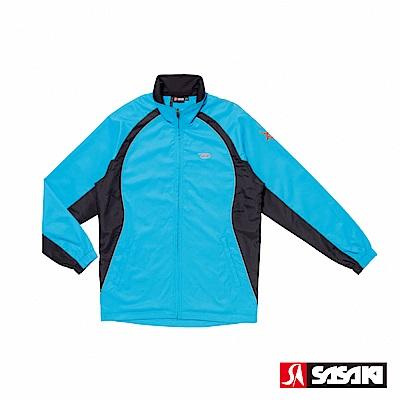 SASAKI 夜間反光功能透氣式平織運動夾克-男-鮮藍/黑/艷桔