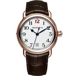 AEROWATCH 搪瓷復刻紳士時尚腕錶-玫瑰金框x咖啡/40mm