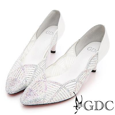 GDC-真皮水鑽波浪交叉奢華跟鞋(婚鞋)-白色