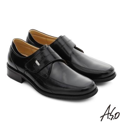 A.S.O 勁步雙核心 真皮鏡面魔鬼氈奈米紳士鞋 黑色