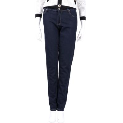 VERSACE 藍色圖騰流蘇飾牛仔長褲