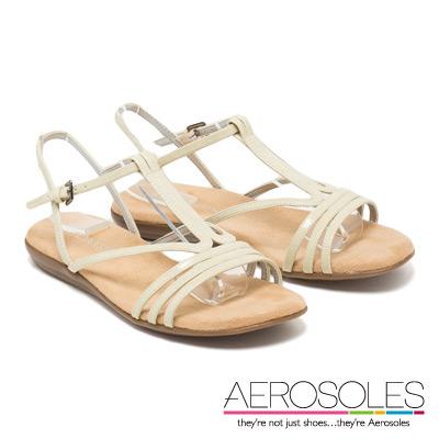 AEROSOLES 休閒度假風亮面弧形繫帶涼鞋~氣質杏白