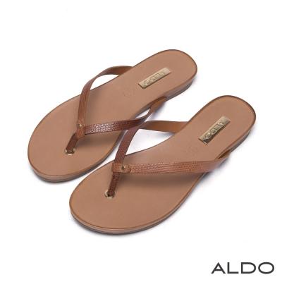 ALDO真皮原色蛇紋夾心底人字型夾腳涼鞋-自然棕色