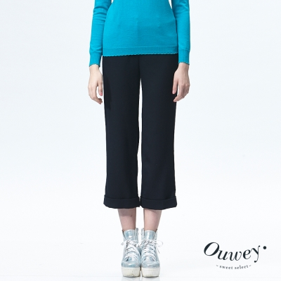 OUWEY歐薇-羊毛九分反褶寬口褲