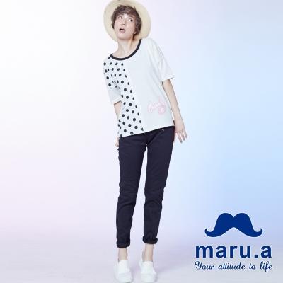 maru-a麻洛野-鬍子造型拉鍊彈性長褲