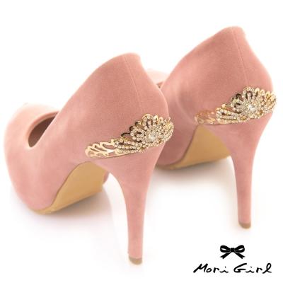 Mori girl後金色水鑽皇冠高跟鞋 粉