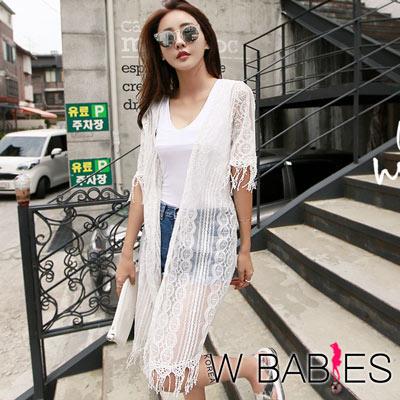 正韓流蘇蕾絲刺繡網紗長版外套白色-W BABIES