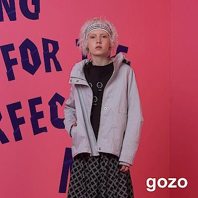 gozo-不對稱口袋設計連帽派克外套-二色